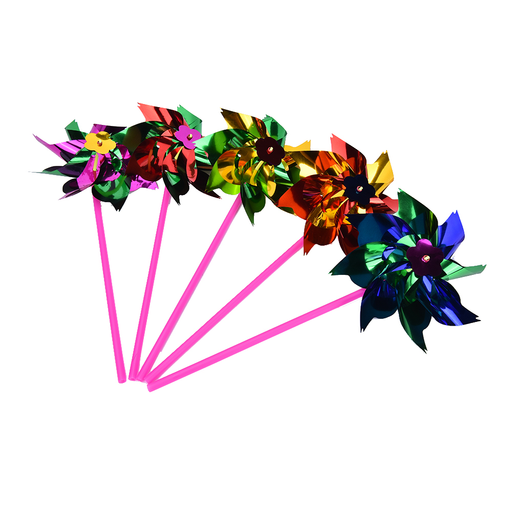 5pcs/set Color Random Plastic Thin Windmill Toy Spinner Pinwheel Whirl Self-assembly Flower Windmill Toy Yard Decor Outdoor Toy