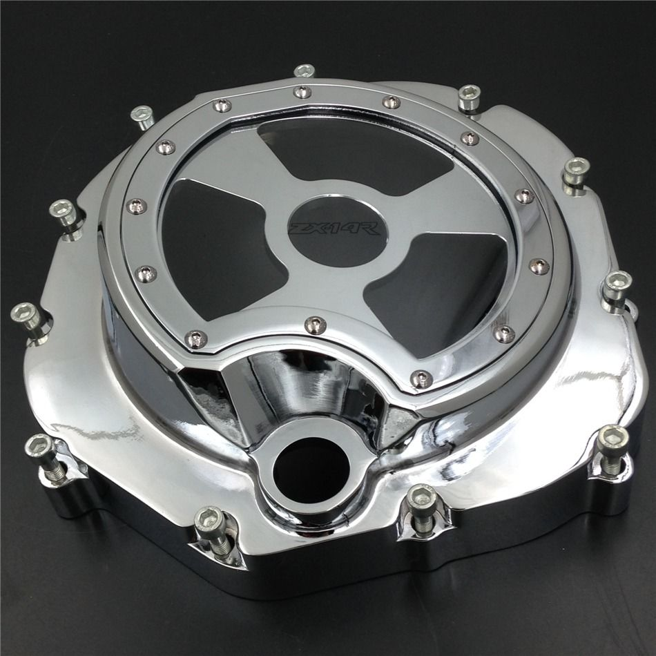 Free shipping motorcycle parts Engine Clutch cover see through for Kawasaki ZX14R ZZR1400 2006-2013 Chrome right