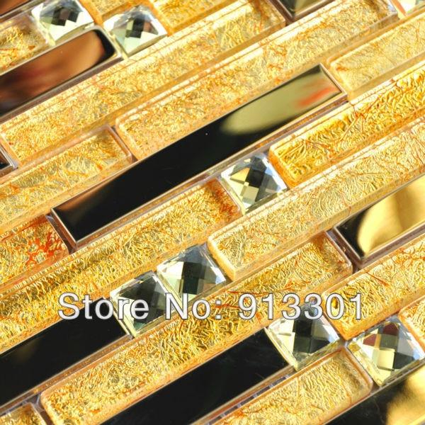 Metallic Mosaic Tile Backsplash Pattern Gold Black Metal Crystal - Discount wall tiles online