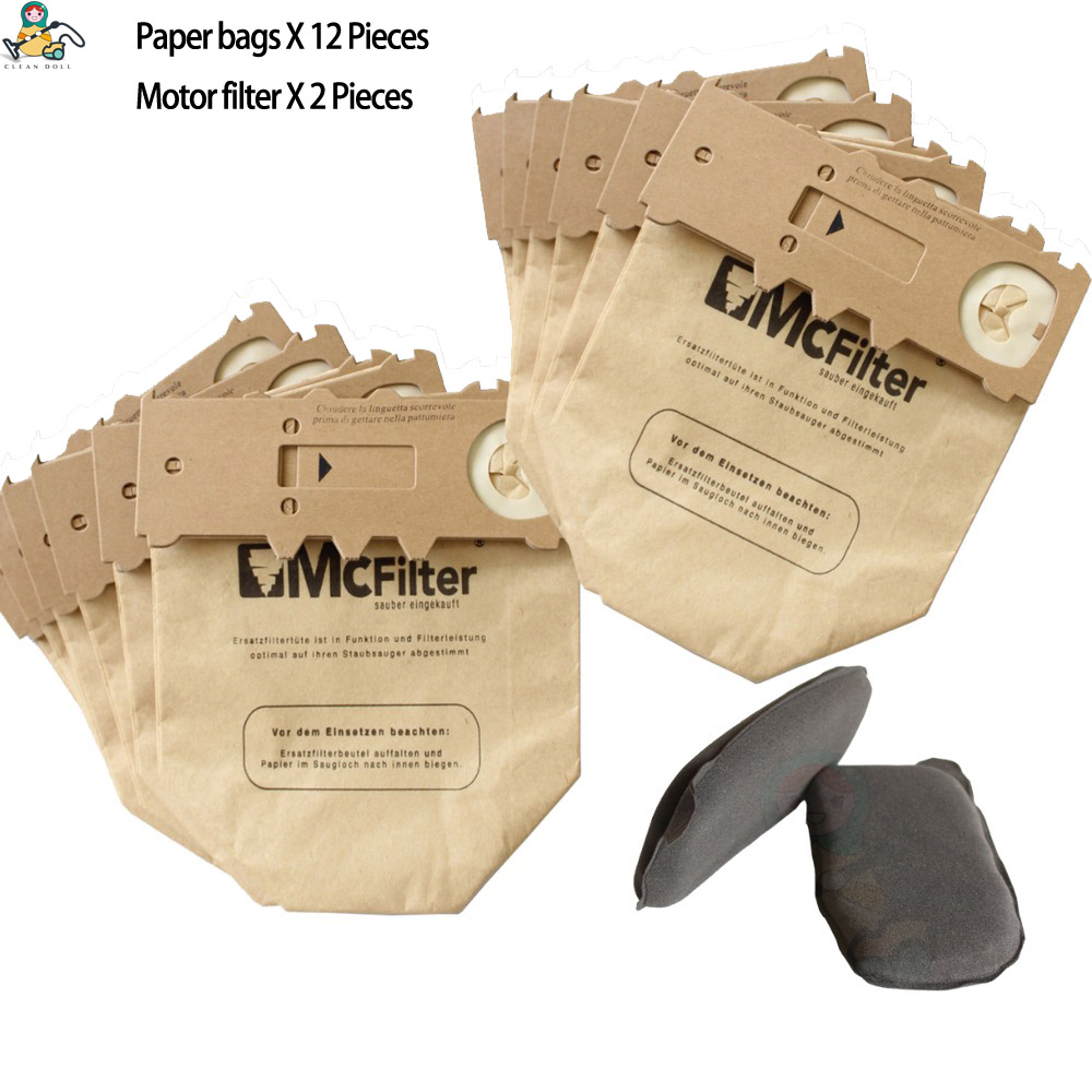 CLEAN DOLL dust paper bags Carbon Charcoal filter for <font><b>VORWERK</b></font> KOBOLD <font><b>VK130</b></font> VK131 FP130 FP131 EB350 EB351 Vacuum Dust Bags image