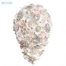 BRITNRY 2018 Vintage Blush Cascading Bouquet Teardrop Butterfly Brooch Bouquet Pearl Alternative Bouquet Crystal Wedding Flower