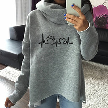 Cute dog paw heartbeat scarf neck style pullover hoodie