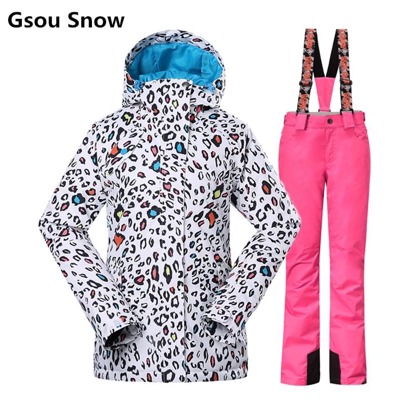 Gsou Neige hiver combinaison de ski femmes de ski veste et pantalon tablas de snowboard ski vêtements veste ski jas dames esqui femme