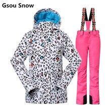Gsou Snow winter ski suit women ski jacket and pants tablas de snowboard skiing clothing veste ski jas dames esqui femme