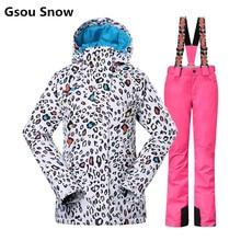 Gsou Nieve juego de esquí de invierno de las mujeres de esquí chaqueta y pantalones tablas de snowboard ropa de esquí ski veste jas dames esqui femme