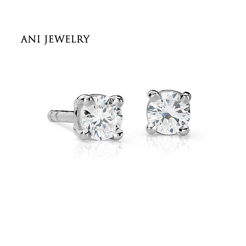 ANI 18K White Gold (AU750) Women Engagement Stud Earrings 0.25 CT Certified I/S2 Round Cut Natural Diamond Earrings aretes ani 18k yellow gold au750 women coral stud earrings natural pink coral flowers fashion lady engagement stud earrings aretes