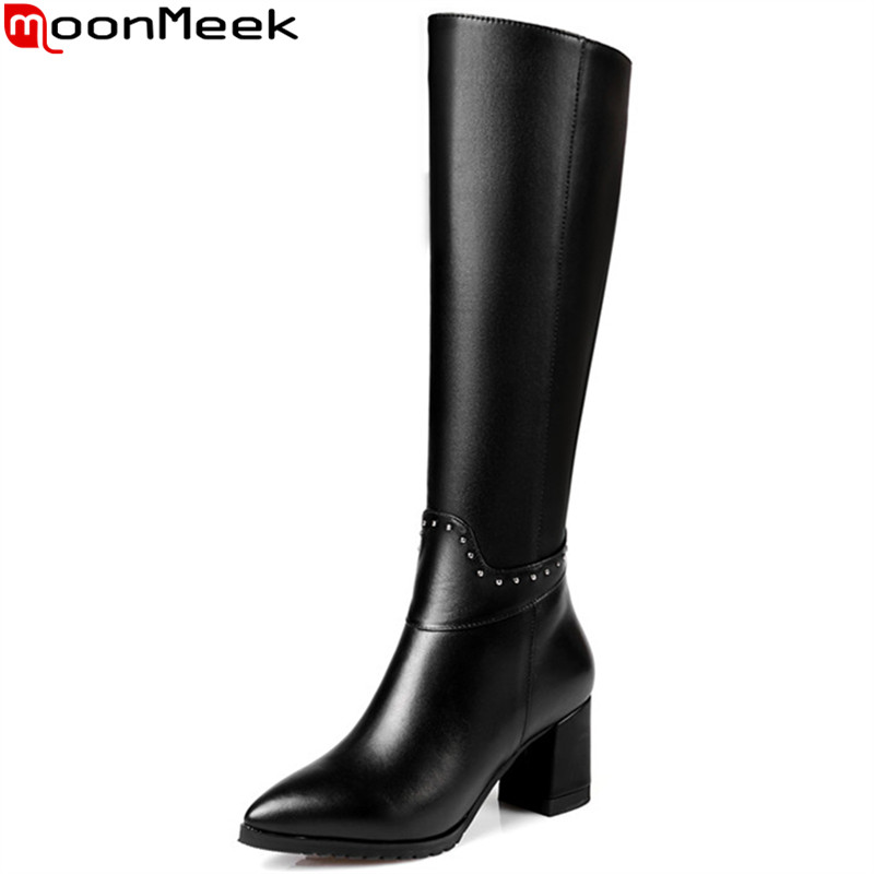 MoonMeek plus size 32-45 New arrive knee high boots women pointed toe high heel winter high quality pu+genuine leather boots 2016 new fashion winter knee high boots high quality personality knee high boots comfortable genuine leather boots