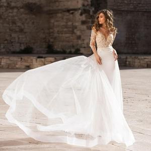 Image 2 - Verngo 2021 Boho 웨딩 드레스 우아한 레이스 appiques 신부 가운 맞춤 제작 웨딩 드레스 새로운 디자인 인어