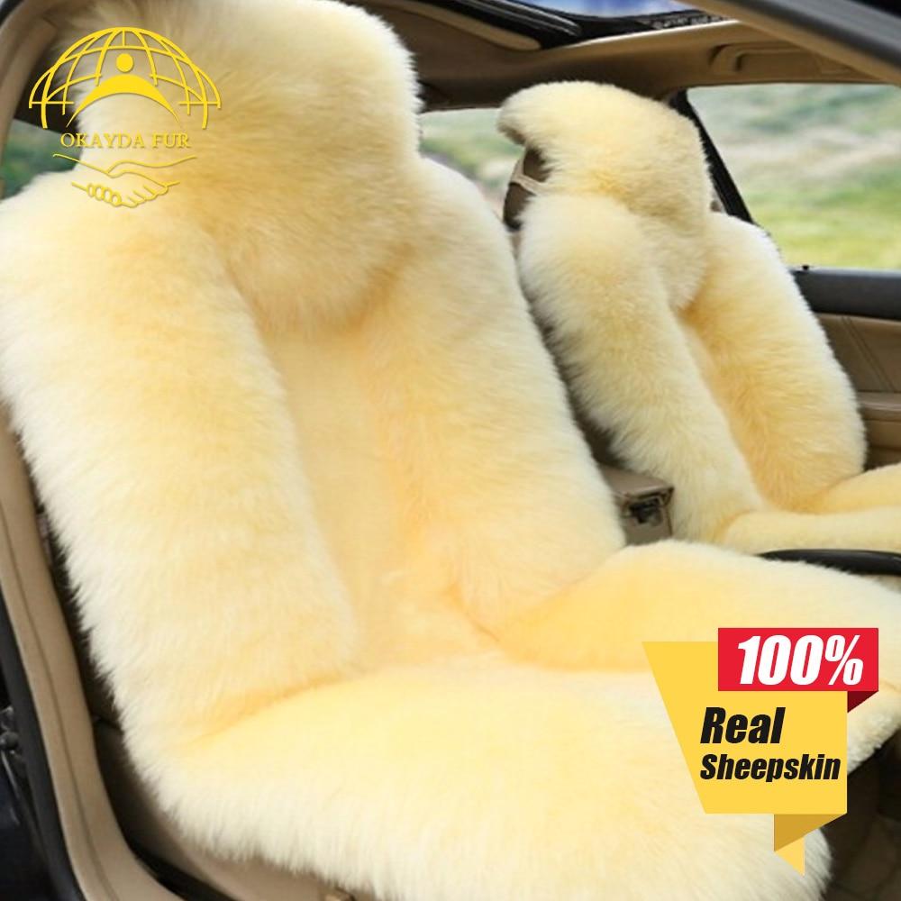 OKAYDA Car Seat cover Cushion natrual Australian sheepskin Universal fit Free shipping car accessories Long woolen with Short