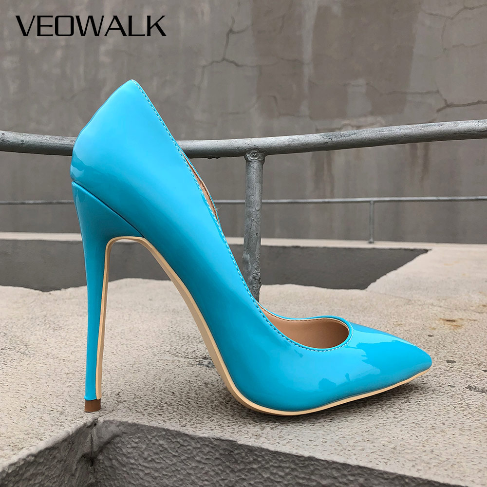 Veowalk Sky Blue Sexy Women Stiletto High Heels Fashion Ladies Pointed Toe Patent Leather Pump Shoes 8/10/12cm Costomize Accept