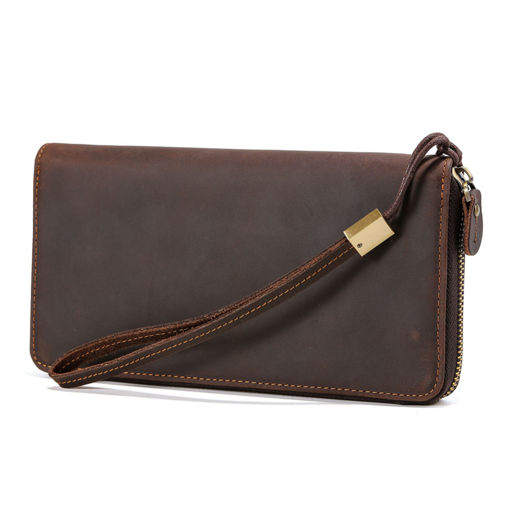 TIDING large capacity leather clutch bag vintage style strap purses zip around for men women card coin holder 42192