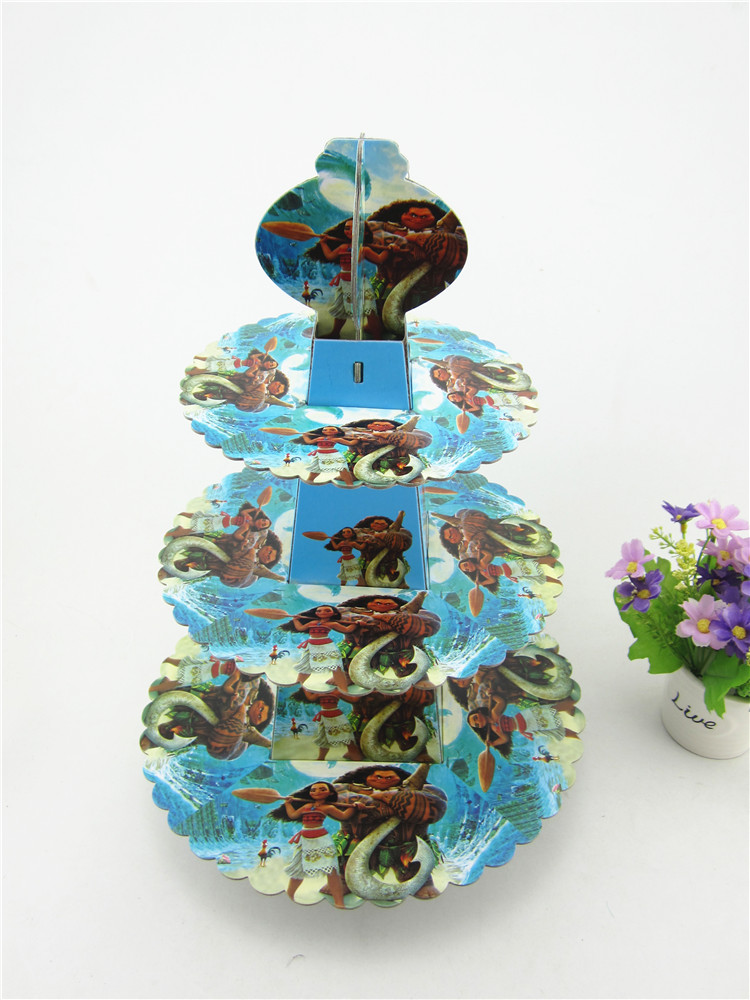 Cartoon Moana 3-tier Cake Stand Baby Shower Supplies Kids Birthday Cupcake Hold Kids Birthday Party Table Cake Holder