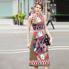 Фотография 2018 Spring New Fashion Pokers Print Sleeveless Women Dress European Style Elegant O_neck Mid-Calf Length Slim Cute Female Dress