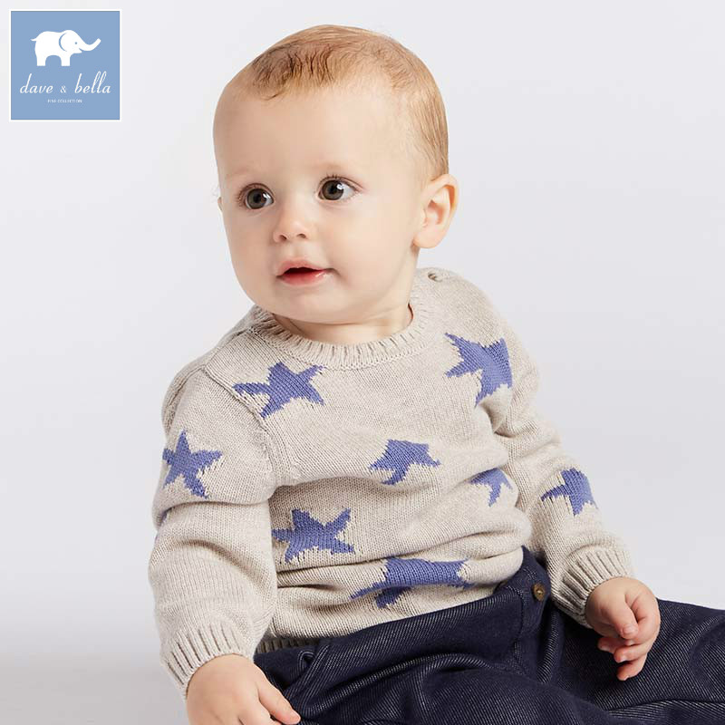 все цены на DB8542 dave bella autumn knitted sweater baby boys fashion pullover kids boutique tops children knitted sweater