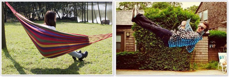 High Quality Portable Outdoor Garden Hammock Hang BED Travel Camping Swing Canvas Stripe 14