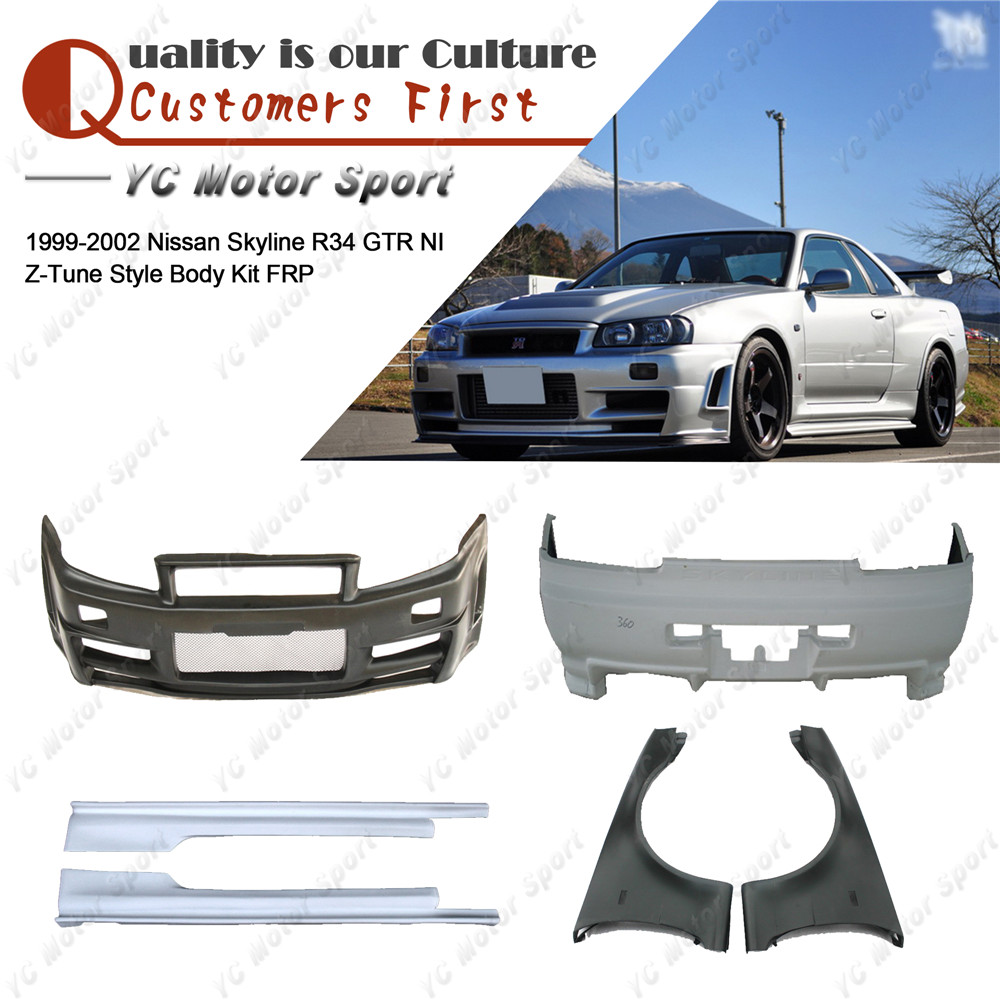 Car Accessories FRP Fiber Glass NI Z-Tune Style Bodykit Fit For 1999-2002 <font><b>R34</b></font> <font><b>GTR</b></font> Body Kit Bumper Cover Front Fender <font><b>Side</b></font> <font><b>Skirt</b></font> image