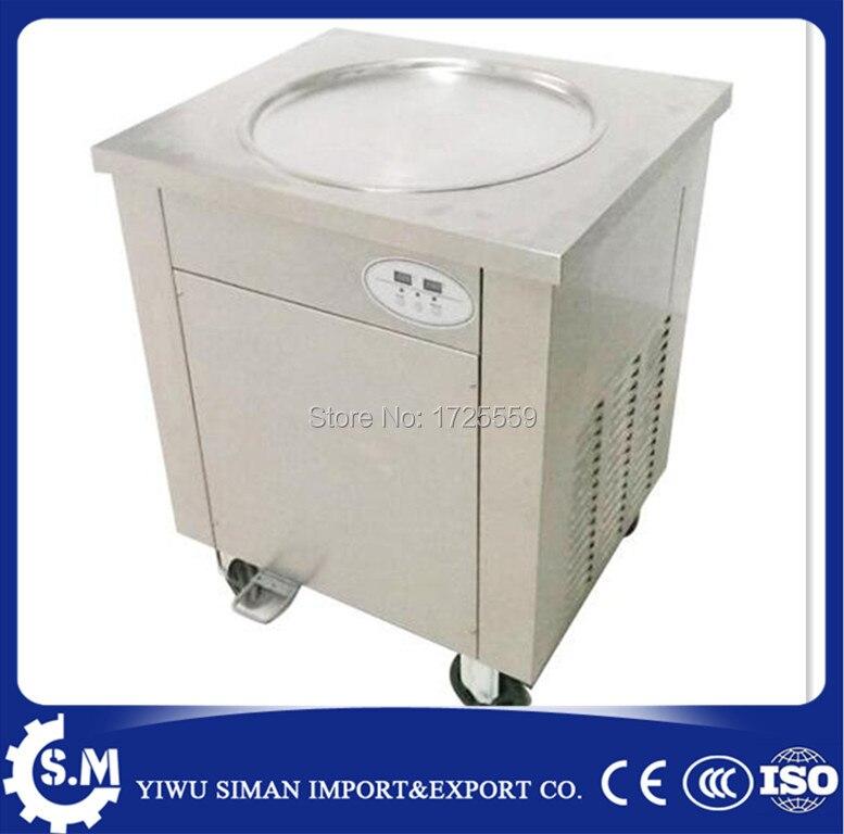 Frees shipping 50cm fried ice cream machine single pan with defrost plate single pan freezer ice pan machine 110V 60HZ