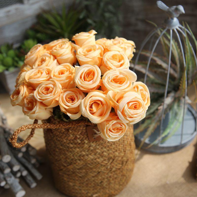 Artificial Silk Flower 6 Head Rose Bouquet Hand Holding Flower Rose Bud Star Bud Wedding Home Decoration DIY Flower Wall