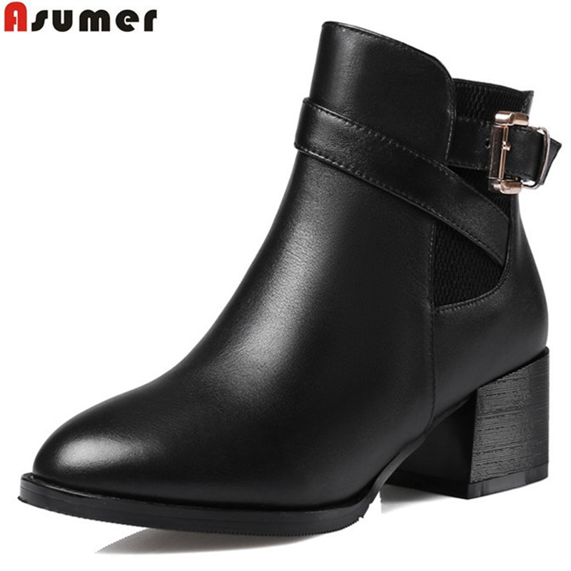 ASUMER fahsion autumn winter new arrive women boots round toe zipper buckle genuine leather ankle boots plus size 32-45 new arrival superstar genuine leather chelsea boots women round toe solid thick heel runway model nude zipper mid calf boots l63
