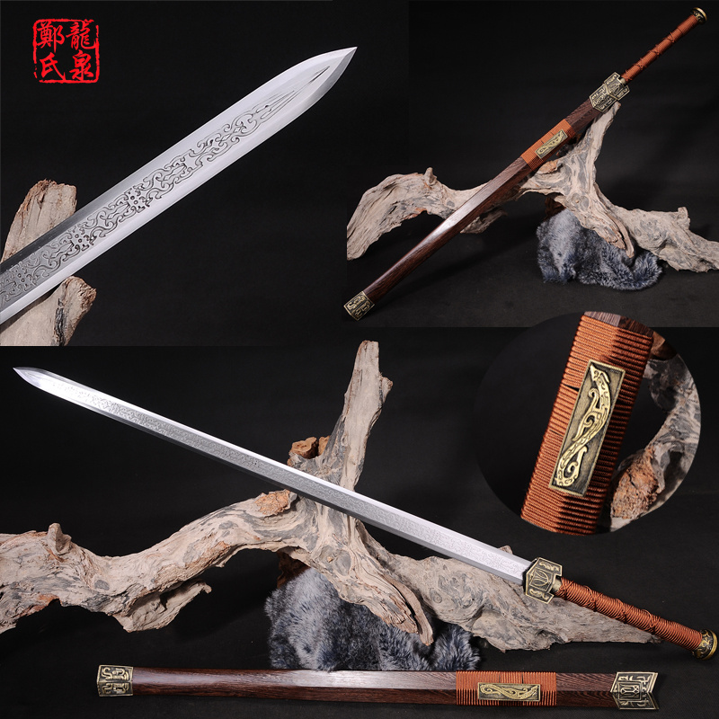 Chinese Sword Double Edges Blade Real Steel Rose Wood Scabbard Fungshui Ornaments Full Tang Sharp Novel