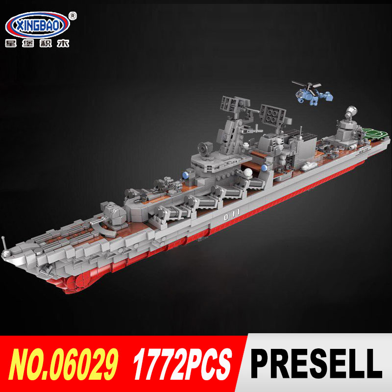 XINGBAO 06029 1772pcs Military Series The Missile Cruiser Set Building Blocks Bricks Toys Assembled DIY Funny Christmas Gifts enlighten military series missile cruiser building blocks sets 843pcs educational construction bricks diy toys for children 821
