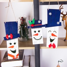 цена на Pack of 3 Snowman Door Hanger Foam Decor Christmas New Year Ornaments Cartoon Cute Winter Hat  Snowflake Home Decoration