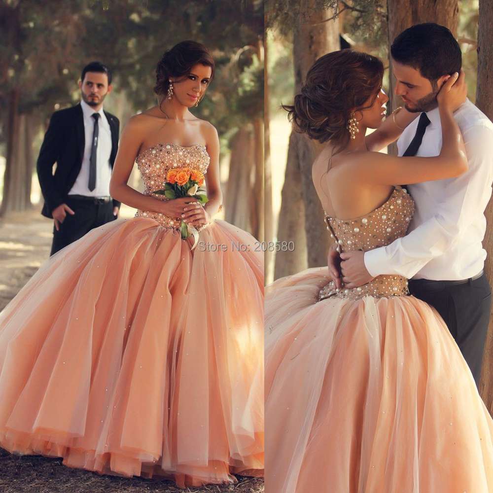 Wedding Coral Dresses For Wedding compare prices on coral wedding dress online shoppingbuy low brautkleider 2016 bridal gown princess ball gowns strapless pearls corset beads vestidos de