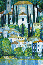Handpainted Gustav Klimt's Oil Reproductions – Church in Cassone Landscape Oil Painting on Canvas Classical Art Pictures