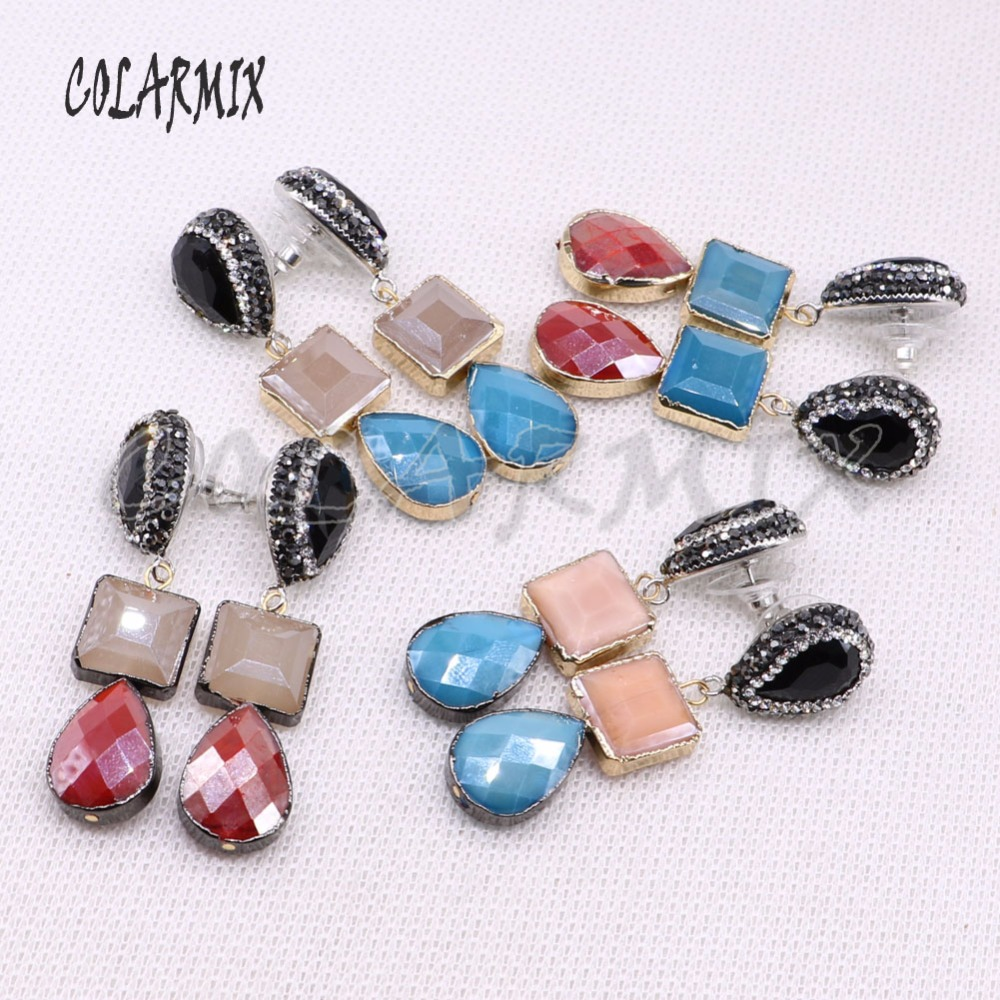 5 pairs double stone mix colors crystal earrings geometric retro earrings glass stone jewelry Earrings 4387