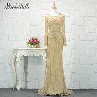 Modabelle Dubai Gold Long Sleeve Evening Dress Luxury 2018 Sparkly Mermaid Beading Tulle Prom Dress For