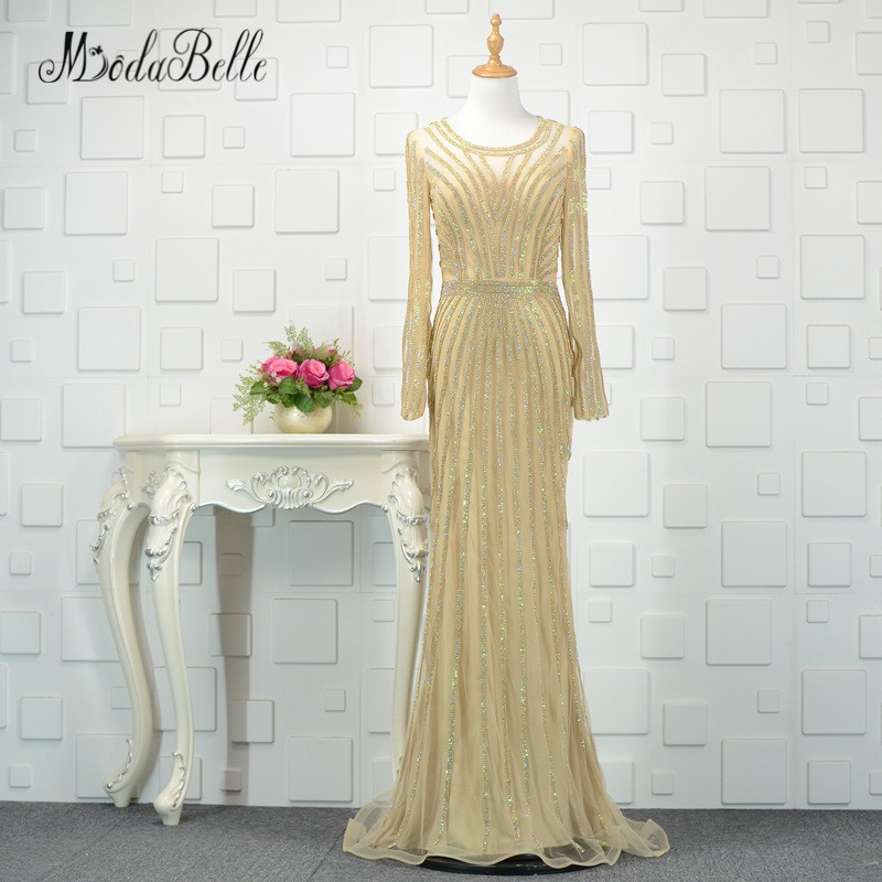 Modabelle Dubai Gouden Lange Mouwen Avondjurk Luxe 2018 Sparkly - Jurken voor bijzondere gelegenheden