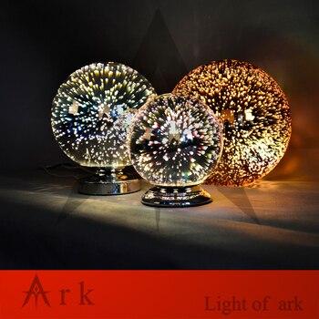 Lumière Arche Nouveau DESIGN Dia20cm Chrome Ombre Miroir Lumière E27 Ampoule LED Lampe De Table Magique Fantaisie 3d Feux D'artifice Verre Boule éclairage