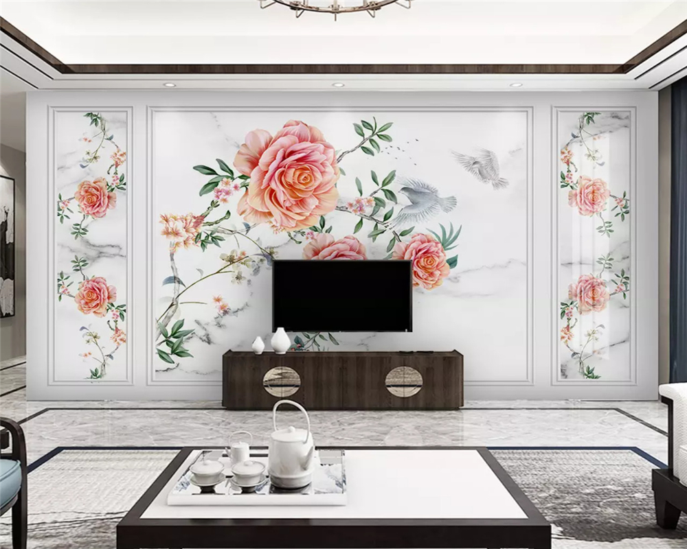 beibehang papel de parede New Chinese style hand painted rose marbled flower bird background 3d wallpaper wall papers home decor in Wallpapers from Home Improvement