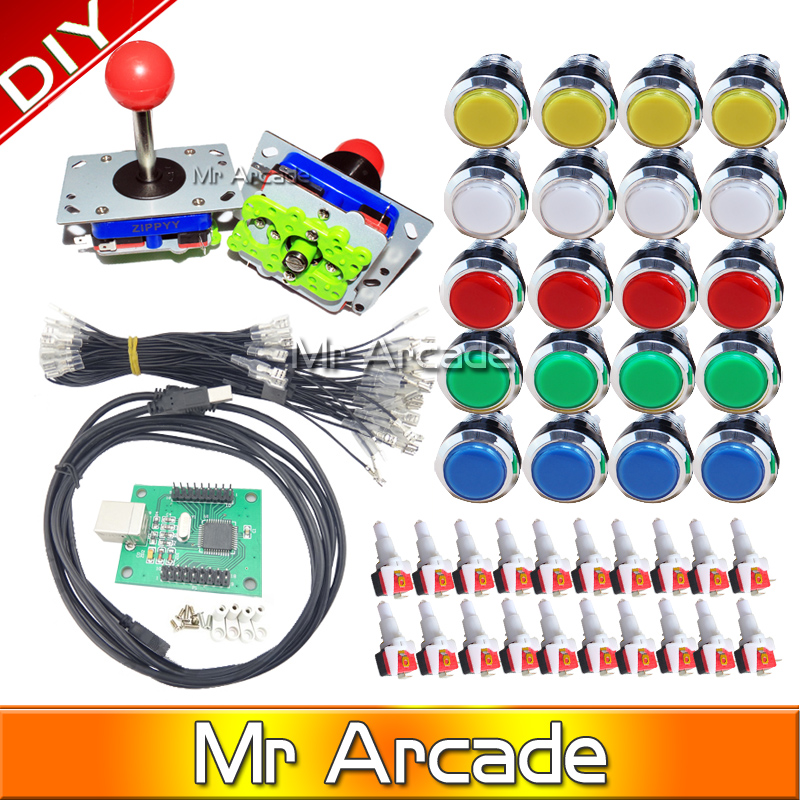 Arcade mame DIY KIT FOR 2 players PC PS/3 2 IN 1 to arcade joystck LED button interface USB 2 player MAME Interface USB to Jamma hormonal key players for obesity in children with down syndrome