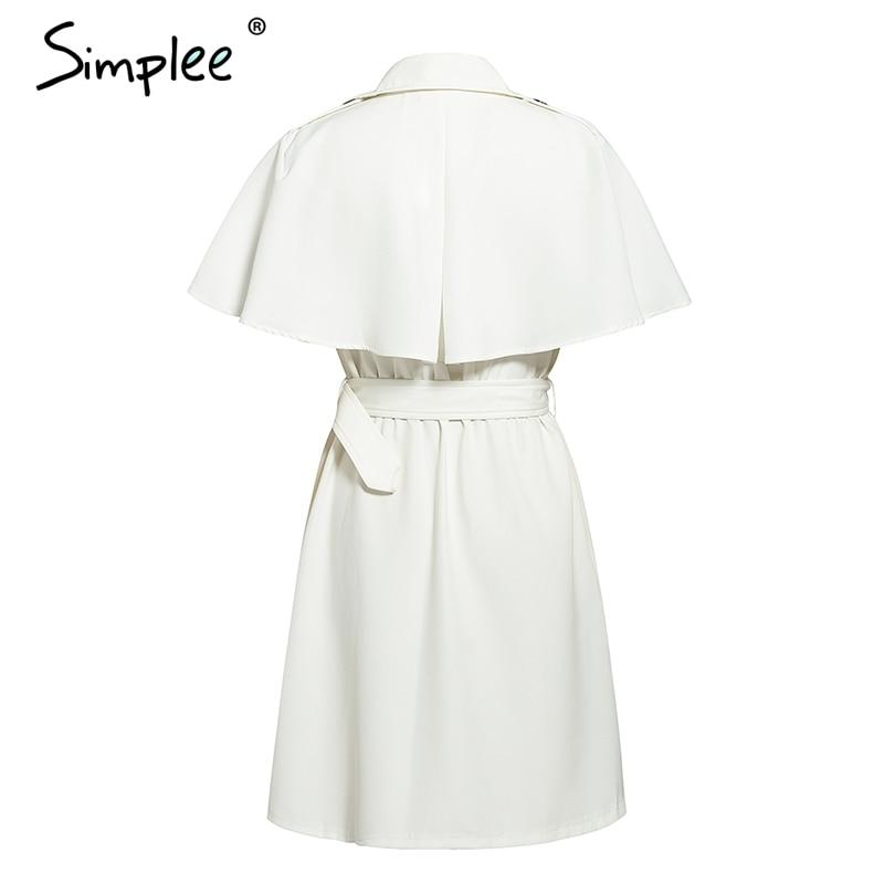 Simplee Solid ruffled sleeve women blazer dress Elegant sash belt office ladies trench dress V-neck shawl party dress vestidos 14