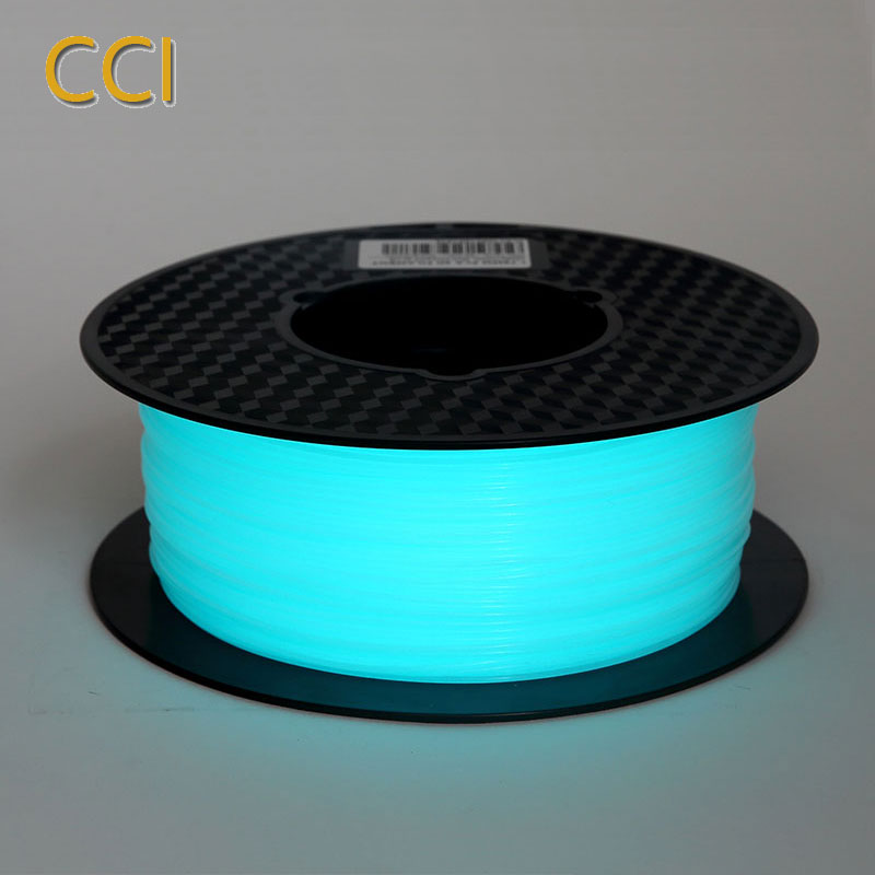 Noctilucous pla 3d printer filament noctiucent 1.75mm percetakan bahan noctilucous blue green ungu 1kg glow in the dark