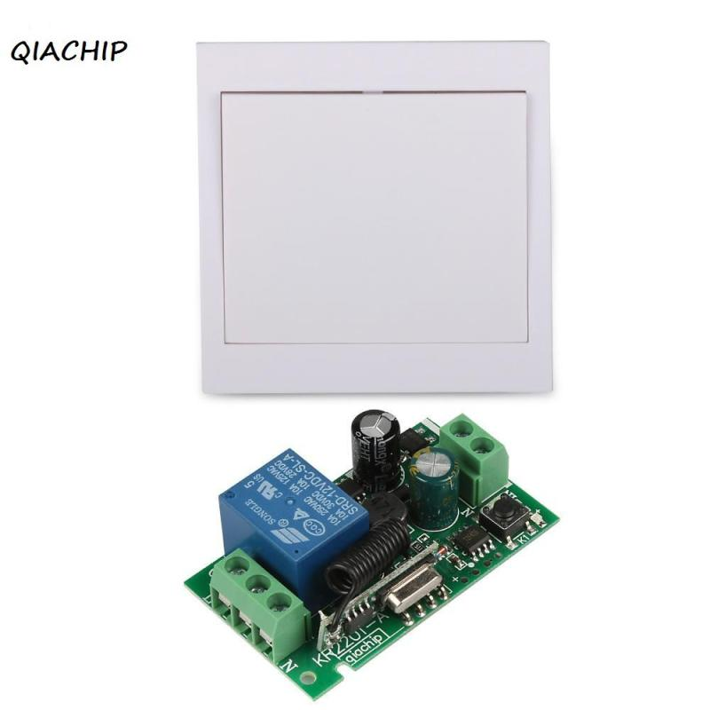 QIACHIP 433Mhz Wireless RF 86 Wall Panel Remote Transmitter + 110V 1CH Remote Control Switch Receiver For Hall Bedroom Lights H4