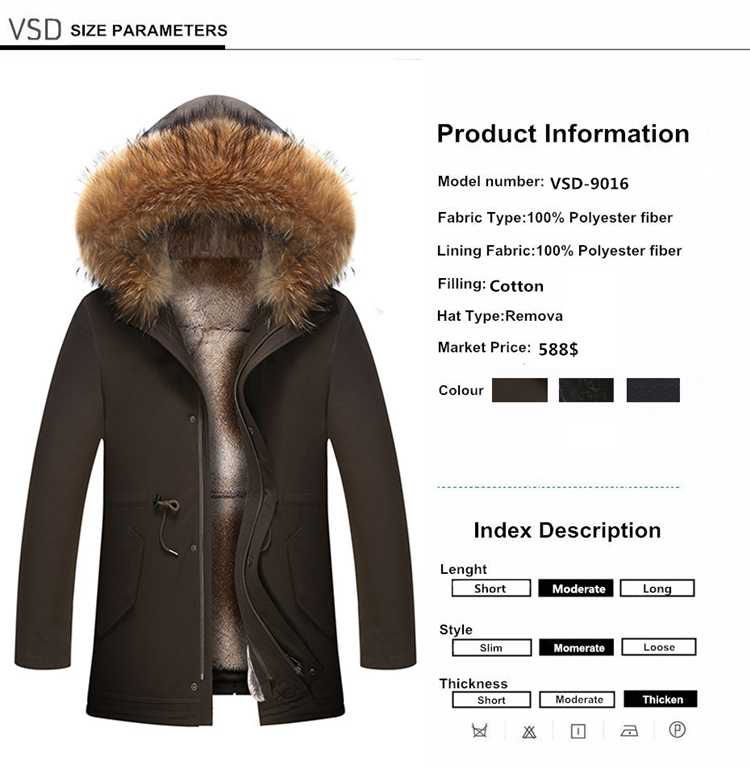 001 2018 new winter men's jacket high quality fur collar coats windproof warm jackets man casual coat clothing