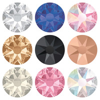 NUOYIMEIER 2088 8 Big 8 Small Hot Fix Crystal Rhinestones 3D Glass Hotfix Strass Stone Colors