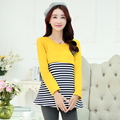 Plus Velvet Cotton Maternity Clothes Spring Autumn T-shirt Breastfeeditee Nurse T-shirt Pattern Stripe Pactkwork Gravidas B397