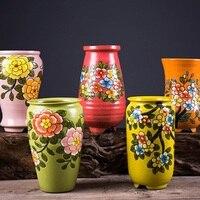 Hand Painted Ceramic Flower Pot Plant Container Plant Pot Planter Garden Pots Garden Plant Pot Succulent Flower Vase