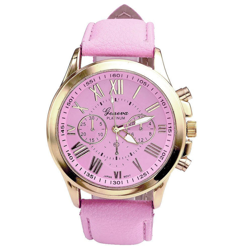 Fashion Roman Numerals Watches Women's Clock Geneva Leather Strap Analog Quartz Watch Ladies Casual Pink Wrist Watches Reloj #LH new women s fashion geneva roman numerals faux leather analog quartz wrist watch female clock