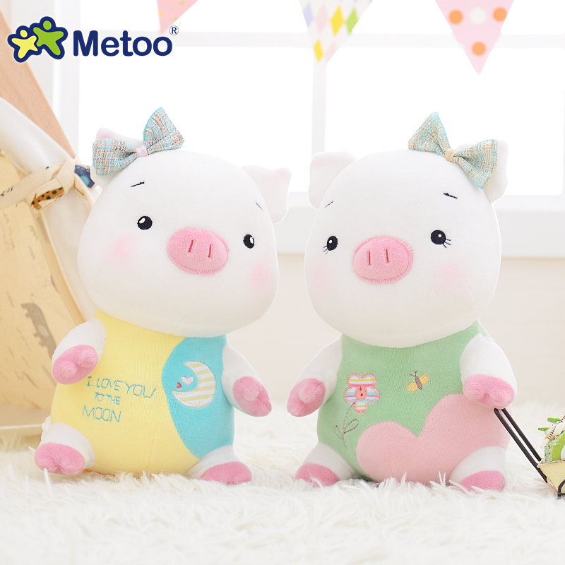 Metoo Flower Pig Plush Doll Sleeping Toys For Baby Girls Boys Cute Stuffed Pig Dolls Kids Children Gift Home Bed Car Decoration