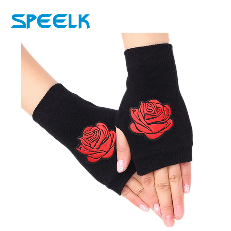 New Warm Fingerless Rivet Gloves Women Spring Autumn Rose Embroidered Half Finger Glove Women Sailor Dance Gloves Wholesale
