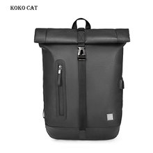 Male Fashion Casual Backpack PU Leather Daily Work Laptop Bookbag USB Charging  Multifunction Waterproof Rucksack Mochila