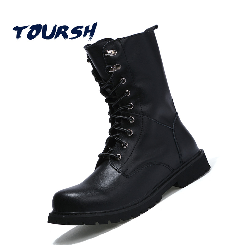 TOURSH New Winter Martin Military Boots Men Shoes Leather Men Boots Brand Fur Boots For Men Autumn Winter Shoes Zapatos Hombre winter martin military boots men shoes leather men boots brand fur boots for men autumn winter shoes zapatos hombre size 38 48