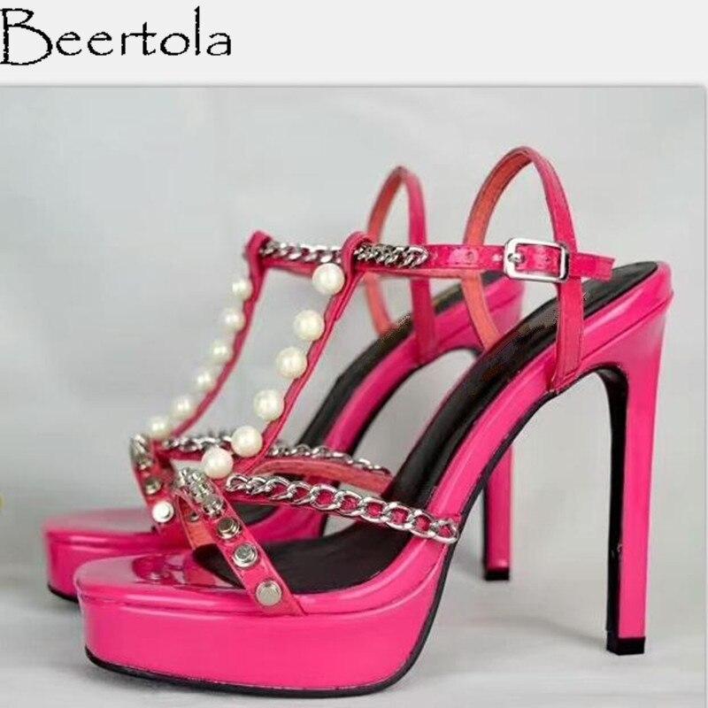 Beertola T En Décor Sandales Picture Métal Clouté Chaussure Zapatos Mode Marque As Chaîne Rivets Femme Forme Mujer Picture De Perle Plate forme Nouvelle Luxe as tvWftrcBFn
