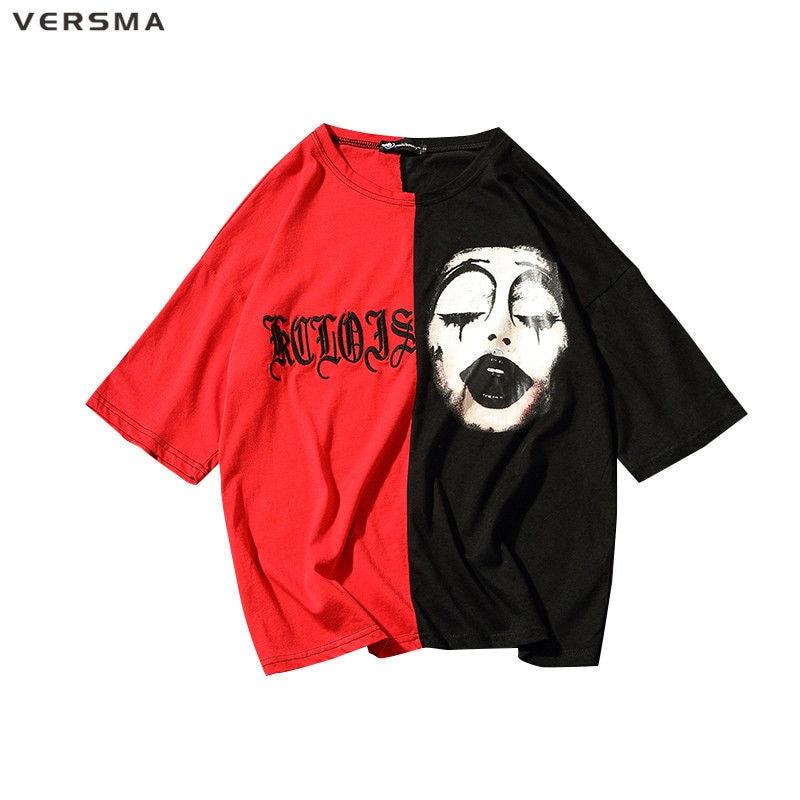VERSMA 2017 Harajuku GD De Clown Imprimé Patchwork Couple T Chemises Hommes Hip Hop Lâche BF Hit Couleur Moitié Manches Broderie Hommes T-shirt