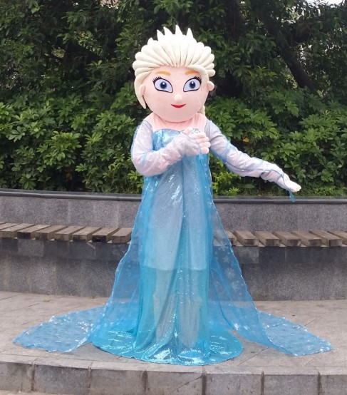 Beducht Chiffon Elsa Volwassen Karakter Kostuum Cosplay Prinses Elsa Cartoon Mascotte Kostuum Lange Mouwen Party Dress Pluche Hoge Kwaliteit