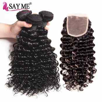 Brazilian Deep Wave Bundles With Closure Remy Weaves Human Hair With Closures 3 Bundles With Lace Closure SAY ME Hair Product - DISCOUNT ITEM  40% OFF All Category